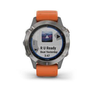 Garmin fenix 6 Sapphire - Titanium with Ember Orange Band-jam tangan garmin (1)