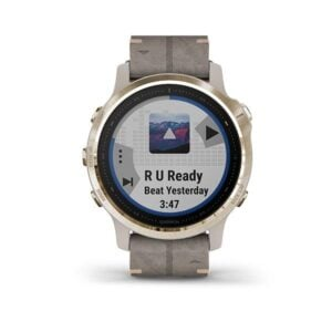 Garmin fenix 6s Sapphire - Light Gold-tone with Shale Gray Leather Band (1)