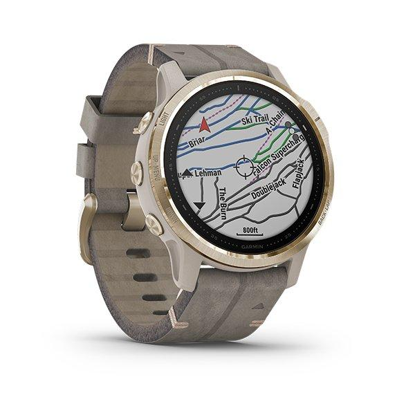 Garmin fenix 6s Sapphire - Light Gold-tone with Shale Gray Leather Band (4)
