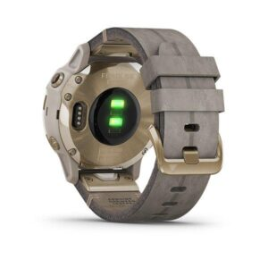 Garmin fenix 6s Sapphire - Light Gold-tone with Shale Gray Leather Band (5)